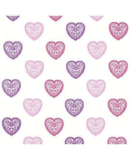 Siuvinėtas audinys Širdelės. Rožinė