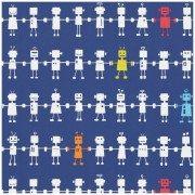 Tapetas Robotai. Mėlynas