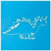 Blizgūs dinozaurai mėlyname fone